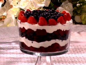 Redvelvet cake, blueberries and whip cream make this trifle extra patriotic.