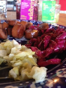 Raw sour kraut and kosher sausage. Yum.
